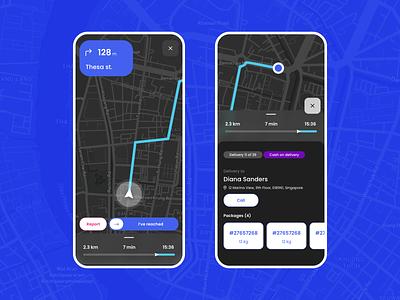 Driver Mobile product design xd adobe xd minimal app ux ui ui design delivery app mobile ui mapbox map navigation driver app mobile app