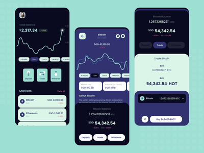 Crypto App - Dark theme dark product mobile design chart track currency wallet cryptocurrency crypto clean xd mobile app product design minimal app adobe xd