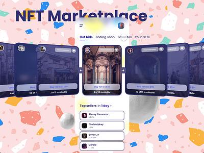 NFT Marketplace App ux creator tokens cryptocurrency crypto buy nft bid marketplace mobile design clean xd mobile app product design minimal app adobe xd