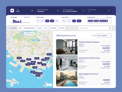 Hotel booking web application clean app xd ux filters map booking staycation stay hotel expedia product design minimal adobe xd