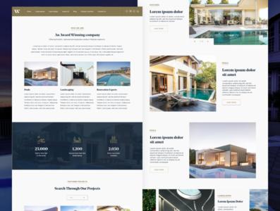 Pools and Landscaping Website Design pools and landscaping landscaping website award winning elegant visual design ui design landscaping pools website concept website design website