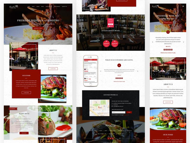 GrandCru Wine Bar and Bistro - Restaurant Website Design food and drink bistro restaurant website restaurant wine bar wordpress development wordpress website webdesign web design