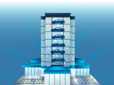 Car Tower vector gradient building color tower car design graphic