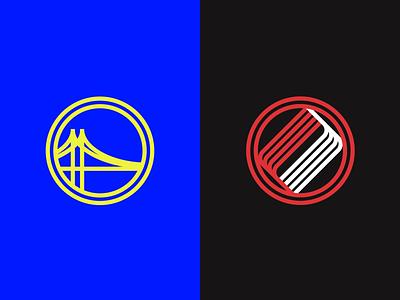 Warriors vs Trail Blazers illustrator minimal icon basketball trailblazers warriors nba finals