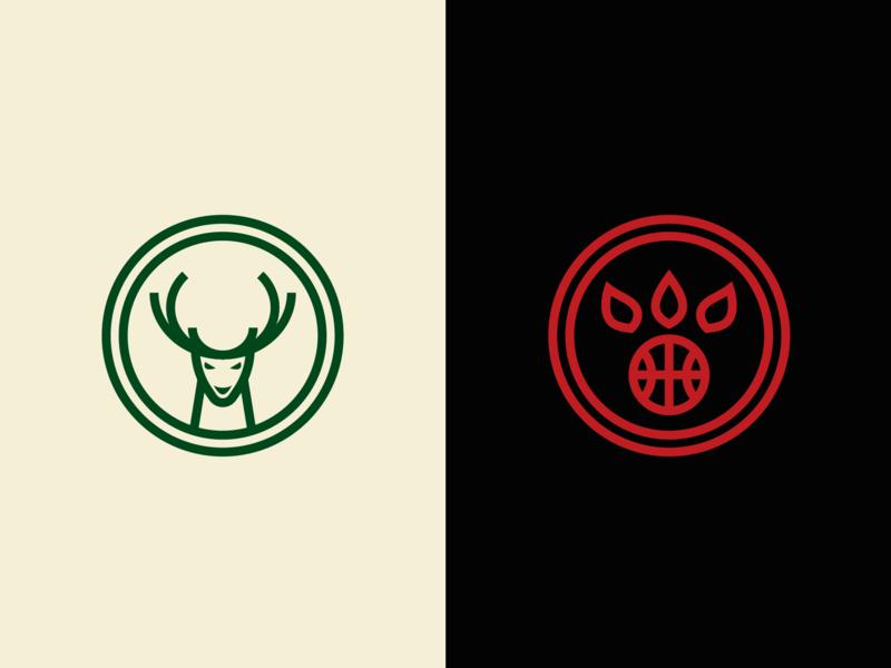 Bucks vs Raptors basketball icon minimal milwaukee raptors bucks finals nba graphic