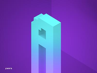 Izometric alfabet. Letter A alfabet pixel pixels voxels voxel izometric