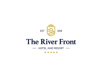 The River Front Hotel and Resort Logo hotel logo hotel branding resort hotel typography icon azerbaijan design logo