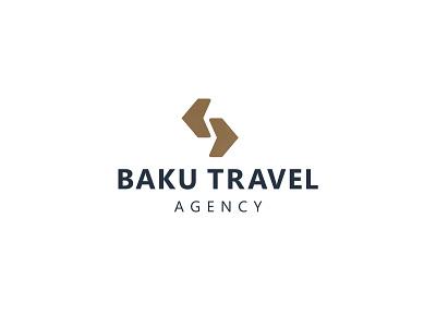 Baku Travel Agency Logo illustration lettering type flat vector azerbaijan brand travel agency travel branding typography icon design logo