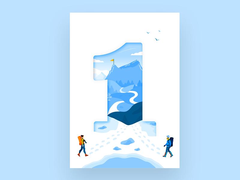 Mountains Illustration . We celebrate our first year. caucasus lake snow cold roads mountains first birthday celebration celebrate hiking mountain travel design vector illustration logo azerbaijan