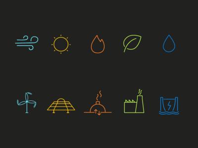 Renewable Energy Sources Icon Set