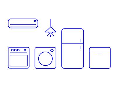 Kitchen Electronic Home Icon Set illustration vector icon