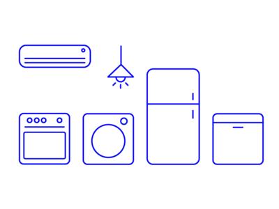 Kitchen Electronic Home Icon Set