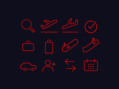 Airline Icon Set icon flat vector