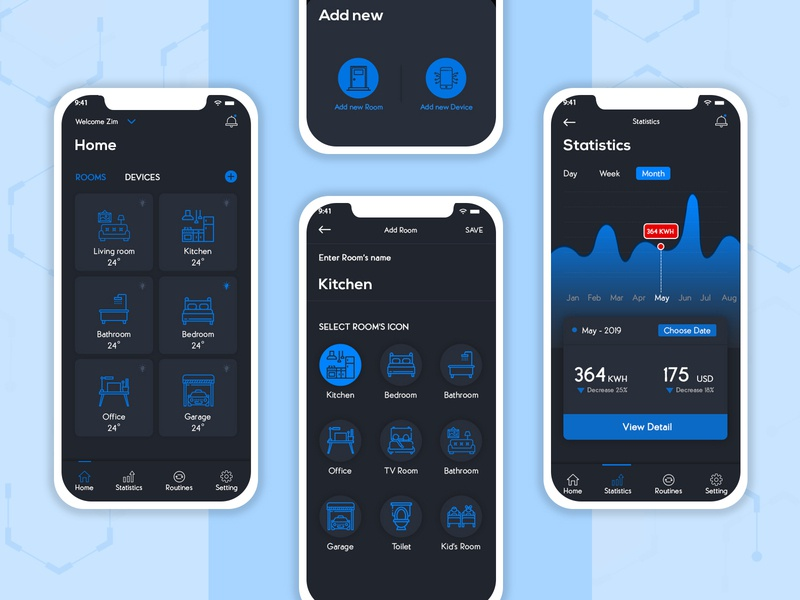 HomeKonnect – An Integrated Smart Home App Solution smarthome mobile app smart home app design smart home concept android app development smart home solutions smart home development smart home app