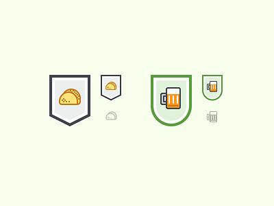 Taco And Beer Badges rewards drinks food taco beer sci-fi icon badge asana