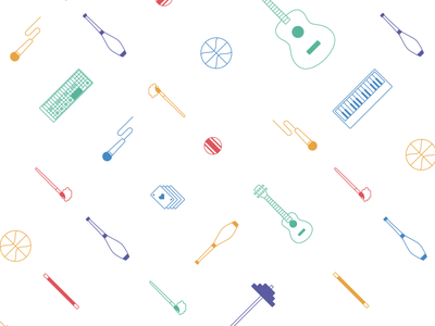 Asana Talent Pattern line illustration icons objects