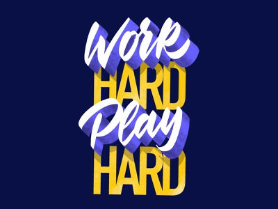 Work Hard. Play Hard. brush lettering procreate lettering calligraphy