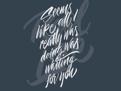 Real Love, The Beatles grey brush lettering procreate lettering calligraphy