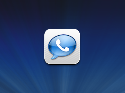 GV Mobile+ icon ios app google voice stripes radial graident phone bubble