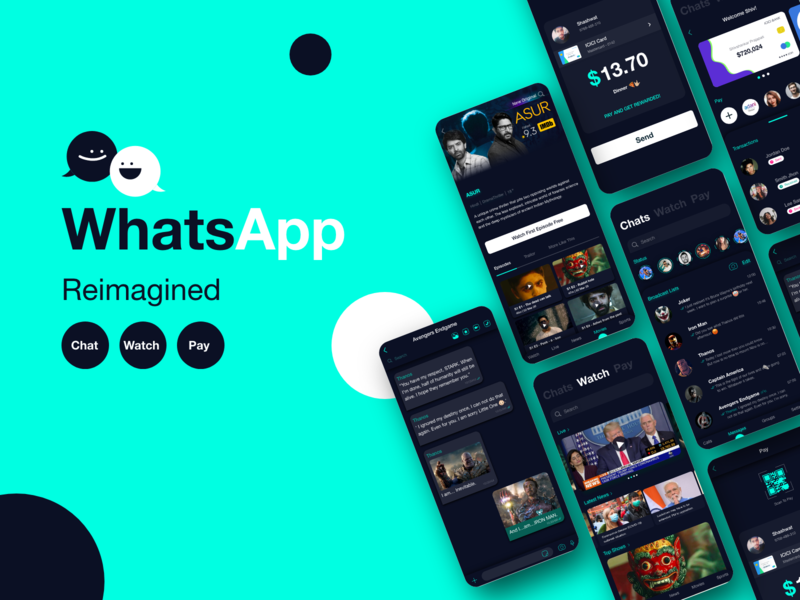 WhatsApp Reimagined adobexd online dashboard ui banking app dark ui avengers mobile app icons watch payment app streaming app messaging app movie app chat mobile ui whatsapp