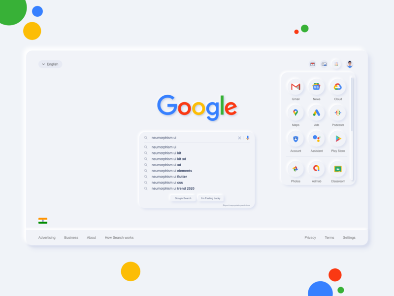 Google Neumorphism UI message navigation trend 2019 classroom photos playstore account podcast ads maps cloud gmail webui webdesign shadows inner shadow adobexd google design google neumorphism