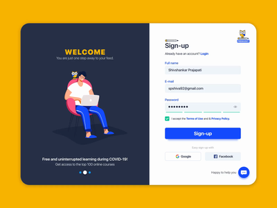 Sign-up form #CreateWithAdobeXD challenge like button love project chatbot character design help online xd animation xddailychallenge xd design logo animation logodesign education app education logo education login signup @daily-ui