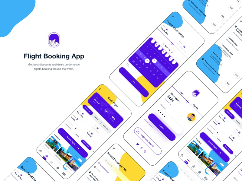 Flight Booking App @pinsky logo ecommerce holiday calendar sign up sign in login page login screen online booking online shopping flight ticket flight booking flight search flight app flight adobe xd adobexd