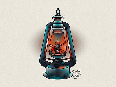 99 Latern tattoo art lantern fire design illustration
