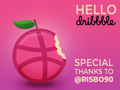 Hello Dribble invitation shot flat purple pink bite invite apple dribble