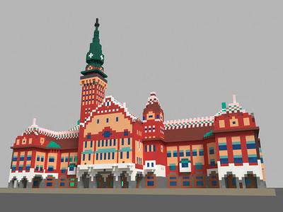 City Hall in Subotica illustraion dribbble serbia subotica modeling graphic studio phoenix steel design landmarks building voxel 3d art