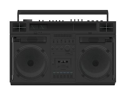 Boom-Box Black jazz transistor radio drawing digital black boom box boombox music hip-hop hiphop desain flat illustration vector graphic studio design phoenix steel