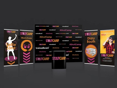 STRUTCAMP BOOTH advertisement print event camp womans girl brand stand table sign banner roll up banner wallpaper backdrop logo graphic studio design steel phoenix