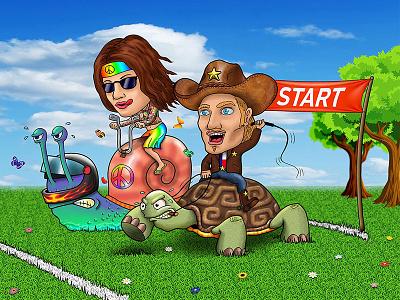 The Race custom art gift meme funny friend painting digital hippie charicature cowboy turtle snail race art illustration studio design graphic phoenix steel