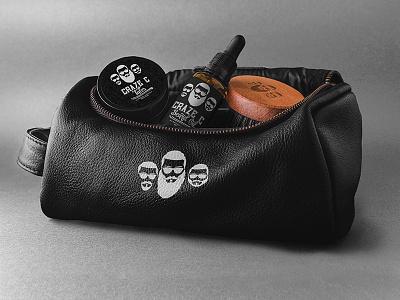 Craze C travel bag mockup wax serum brush oil beard cosmetics men digital graphic label package branding logo vector print studio design phoenix steel