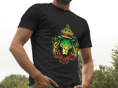 Rasta Lion King jamaica reggae crown king rasta lion illustration flat t-shirt mockup art print digital vector custom art design graphic studio steel phoenix