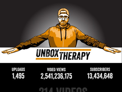 UNBOX THERAPY 8 year anniversary infographic vector illustration infographic youtube unbox therapy