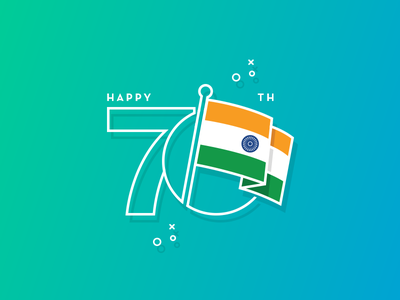 Happy 70th Independence Day! independence day heritage gradient minimal flat bharat celebration tricolor flag india