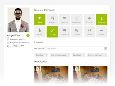 Profile Page Details profile account kanye event organize clean ui flat icons interests