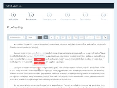 Text editor text editor proofreading steps progress tool language scroll flat ui clean