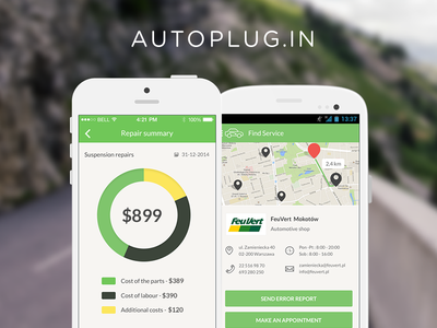 Autoplug.in App app ios android ui car smart drive assistant ios7 flat clean application