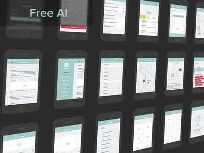 UX Wireframe Set ux wireframe ios7 ui free illustrator vector freebie kit iphone set prototype