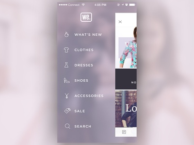 App Menu ux ui clothes commerce shop fashion iphone icons ios app menu