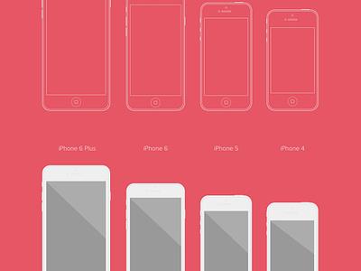 Flat iPhone Vector Mockup Set ux freebie free psd ai kit wireframe template mockup vector iphone flat