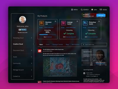 Project Sonoma mobile dark dashboard cloud marketing app web ios ipad adobe ux ui