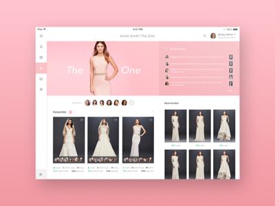 iPad Dashboard for Bridal Shopping Assistant bridal pink minimal clean user interface design ux ui app dashboard ipad