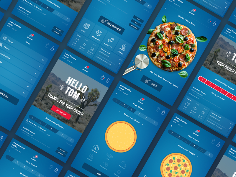 Dominos Pizza Interactive Screens user interface interface design clean tv screen touch kiosk ux ui pizza dominos
