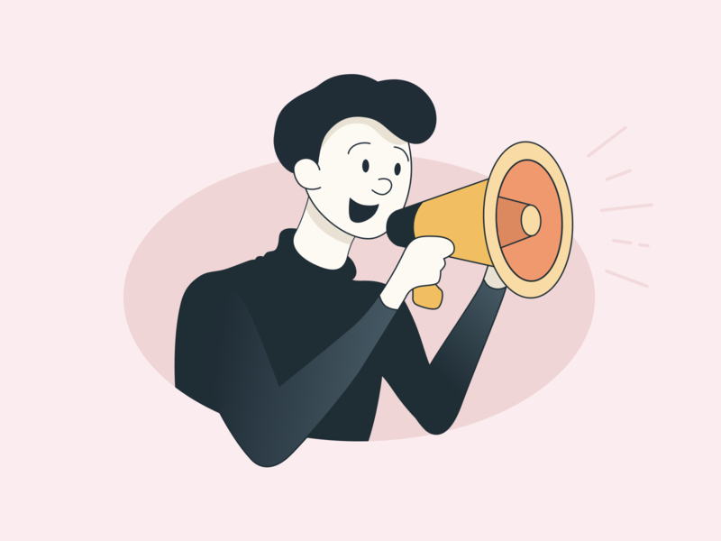 Dude with a megaphone picture meeting 2d voice pink message speaker megaphone job dude clear characters character boy vector flat artwork art illustration design