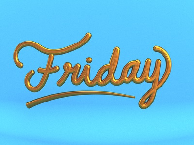 Friday Lettering. davegamez type dailyrender vray cinema4d c4d 3d lettering friday