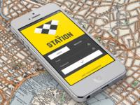 Taxi Station login screen