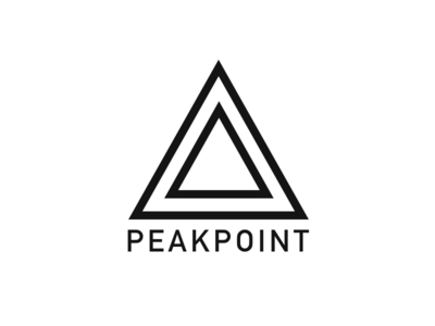 PEAKPOINT colorfuldots llc colorful dots white minimal branding plain arrow top mountain concept logo